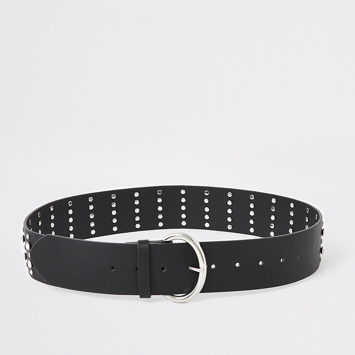 Black diamante studded waist belt