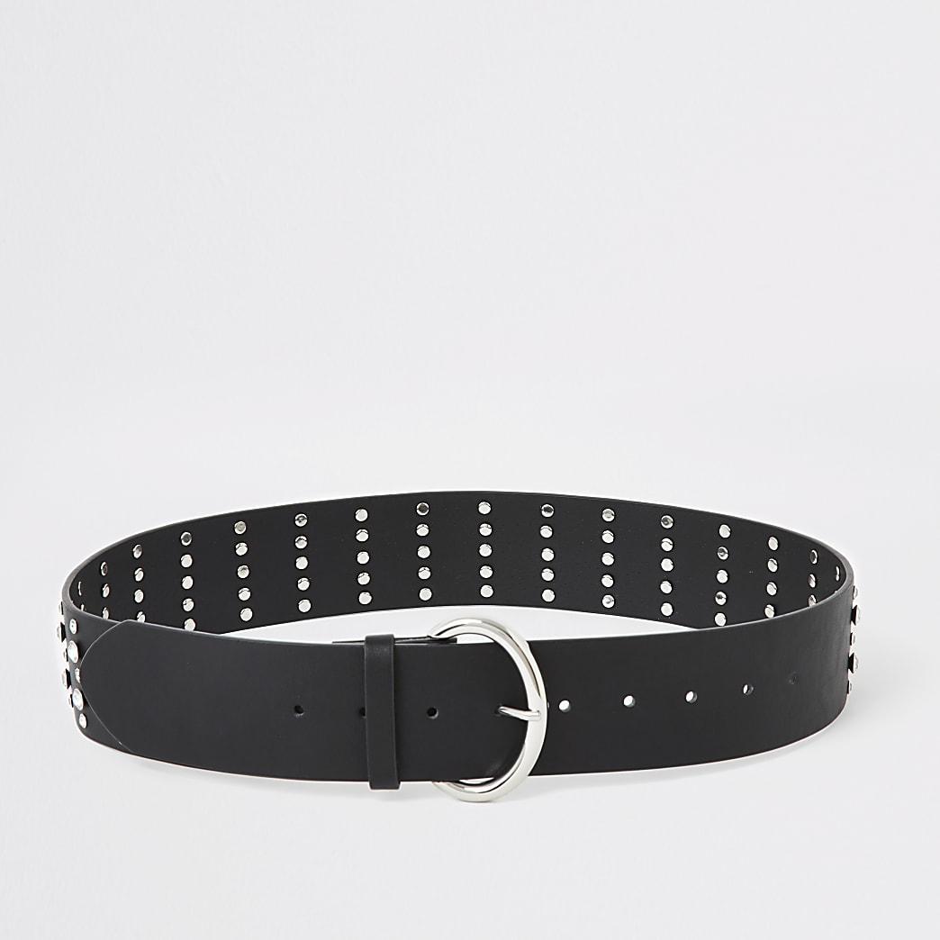 Black diamante studded waist belt