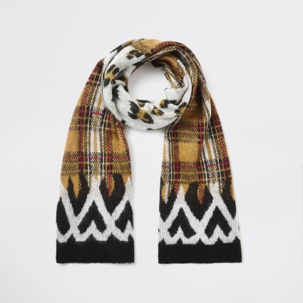 Red mixed print knitted scarf