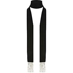 Schwarzer, schmaler Schal aus Samt mit Strass und Quasten