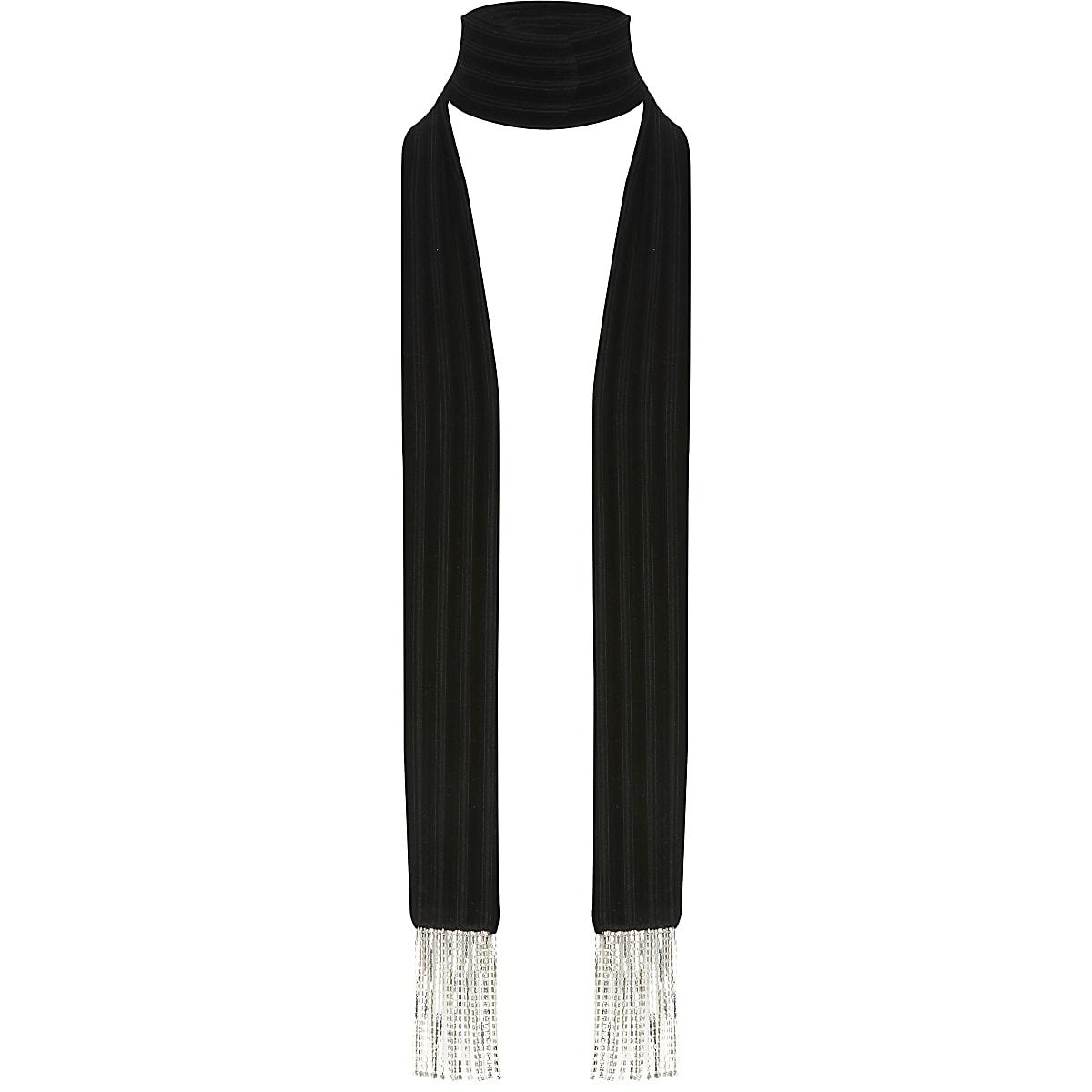 Écharpeétroiteen velours noir avec frangesà strass