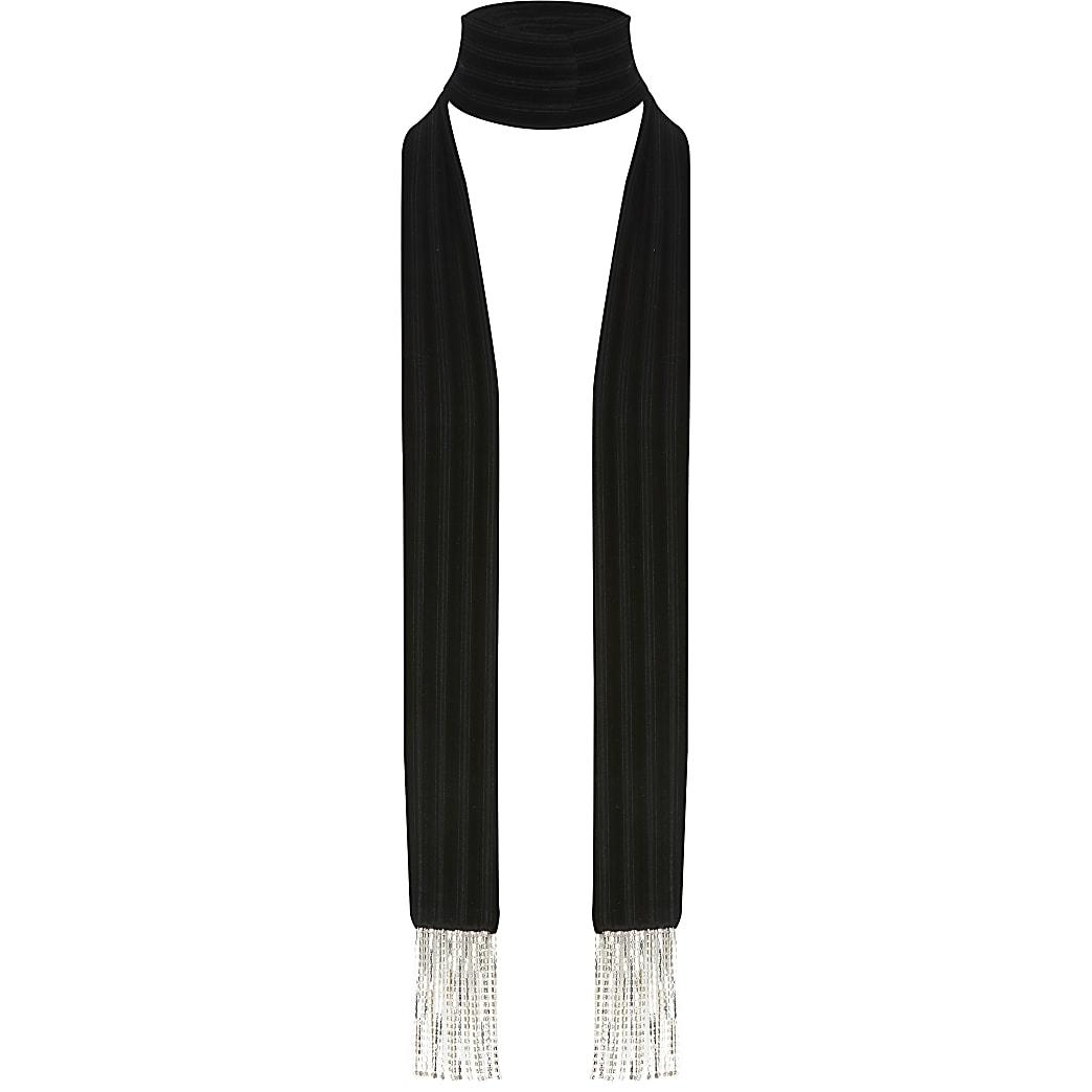Black velvet diamante tassel slim scarf