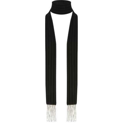Black velvet diamante tassel slim scarf