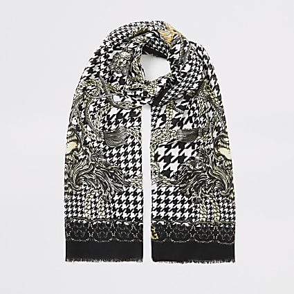 Black dogtooth chain printed scarf