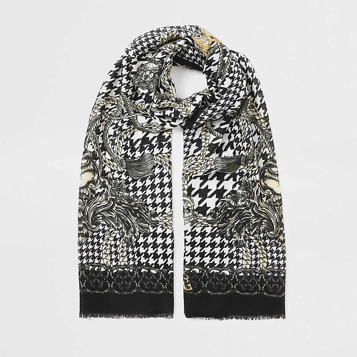 Écharpe noire en pied-de-poule avec impriméde chaîne