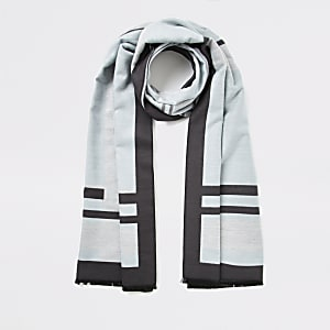 Blue check jaquard scarf
