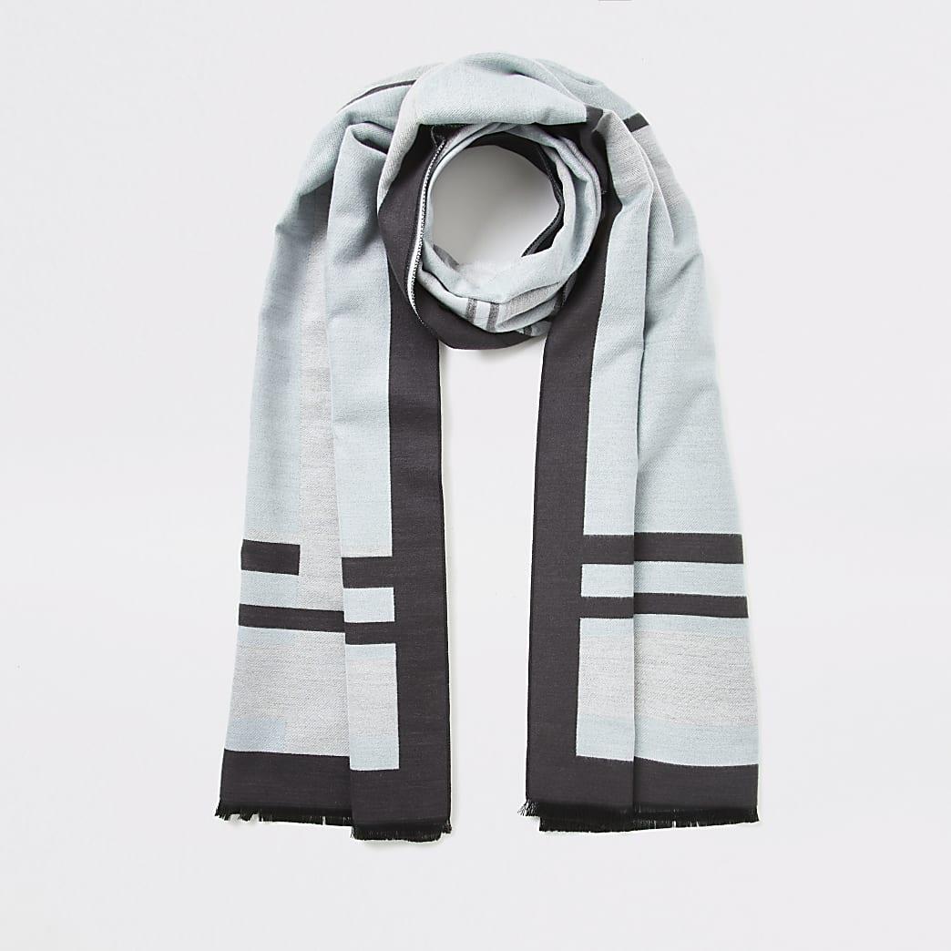 Blue check jaquard scarf