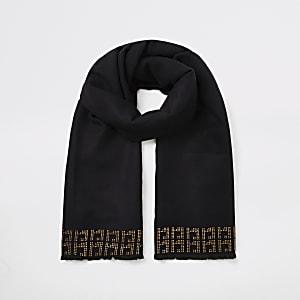 Schwarzer Schal mit RI-Monogramm mit Strassbesatz