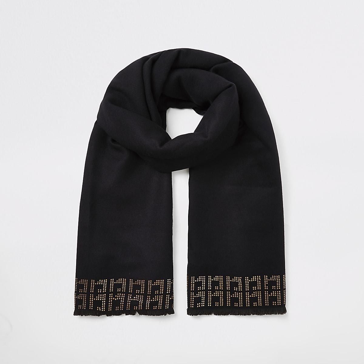 Black RI diamante monogram scarf