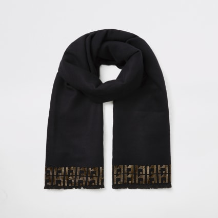 Black RI diamante monogram scarf