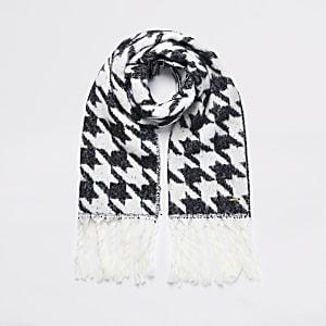 Zwarte geruite gebreide sjaal met pied-de-poule-motief