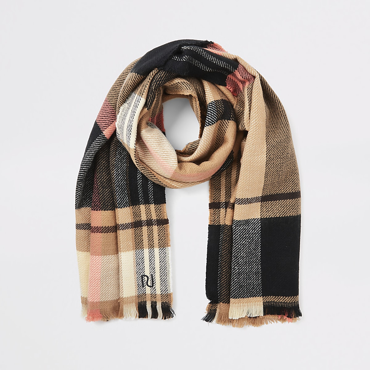 Beige multicoloured check scarf