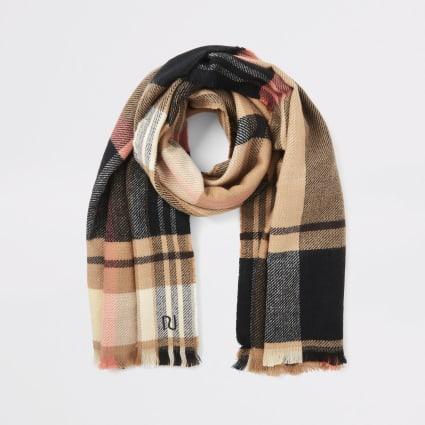Beige check scarf
