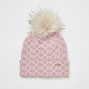 Bonnet rose avec monogramme RI