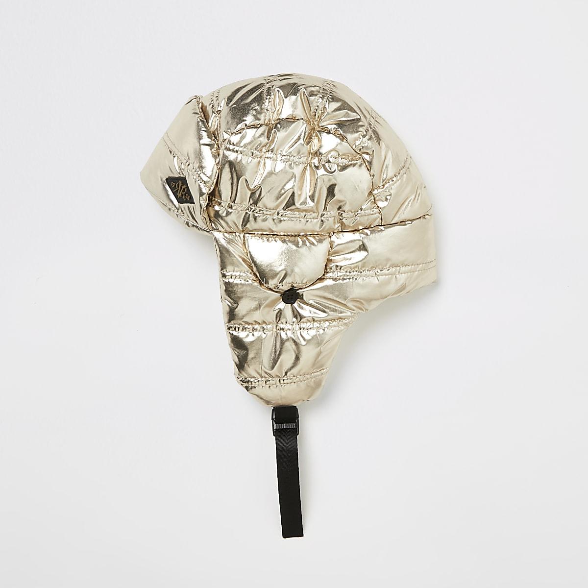 Goudkleurige metallic gewatteerde jagersmuts