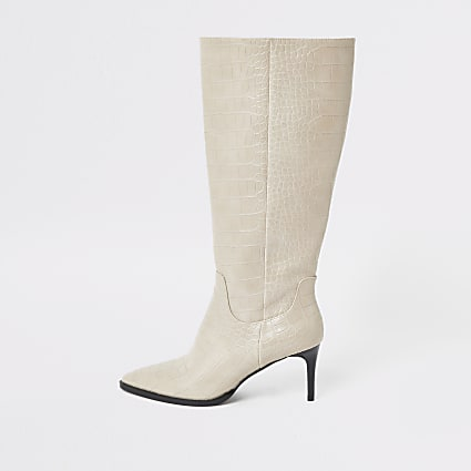 Grey croc embossed knee high pointed boots