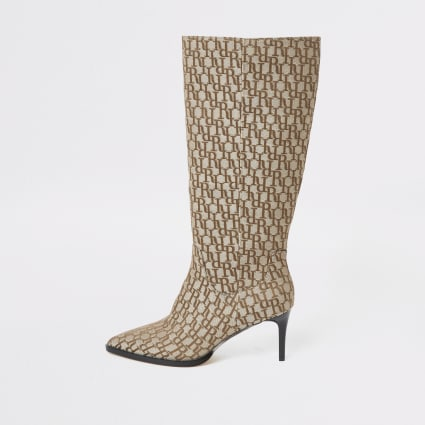 Beige RI monogram knee high pointed boots