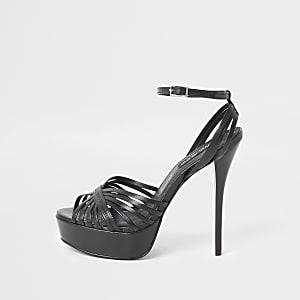 Sandales plateforme en cuir noir à talon aiguille