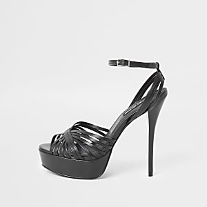 Zwarte sandalen van leer met plateauzool en smalle hak