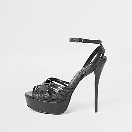 Black leather platform skinny heel sandal