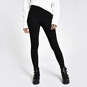 Zwarte legging met hoge taille van pontestof