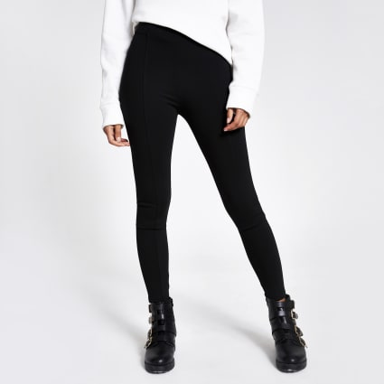 Black ponte high waisted leggings