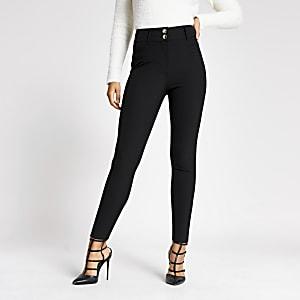 Zwarte skinny-fit broek met hoge korsettaille