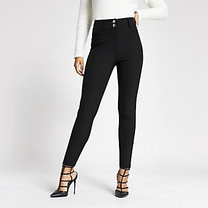 Black high corset waist skinny fit trousers