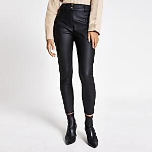 Schwarze Hose mit hohem Bund aus Kunstleder