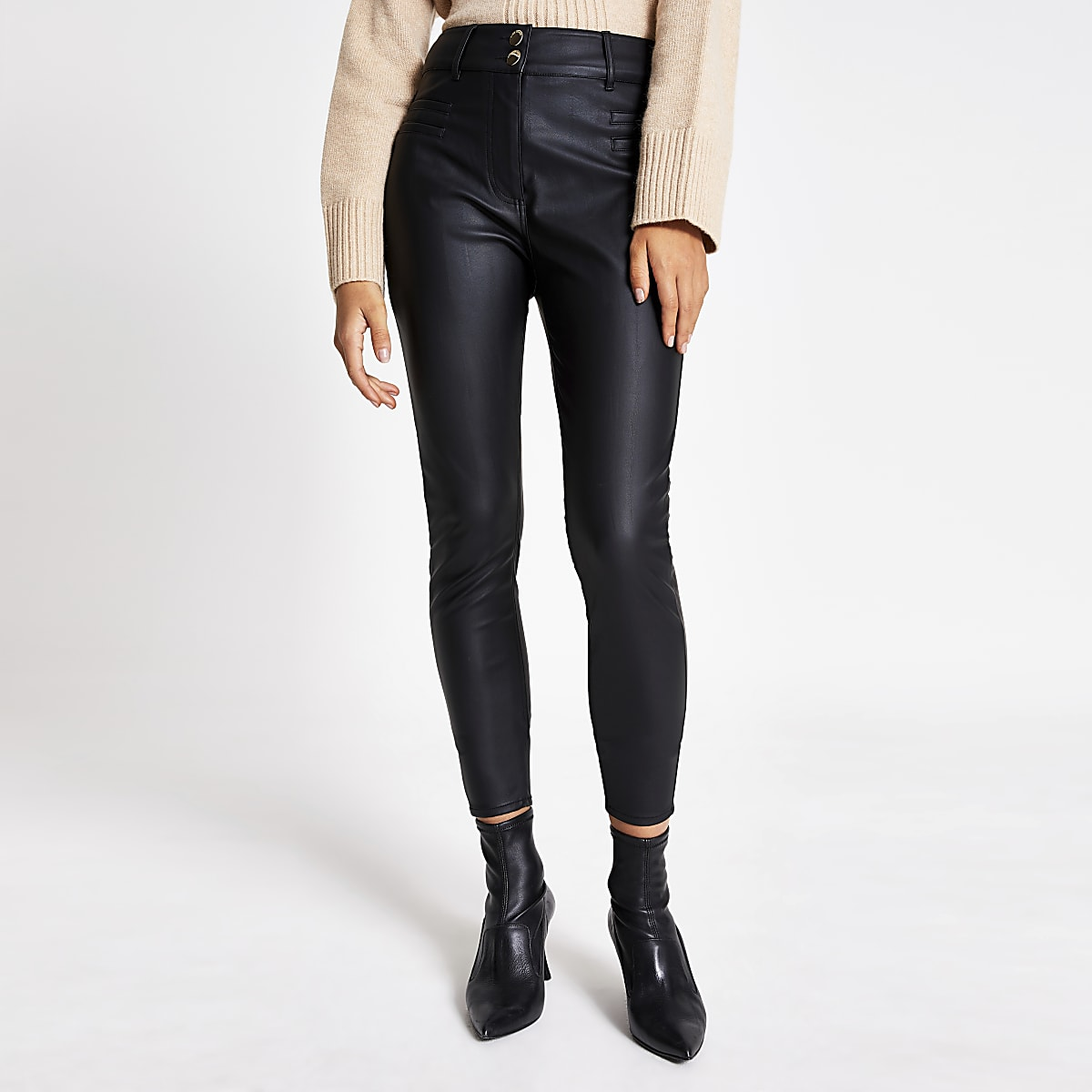 Black faux leather high waisted trousers