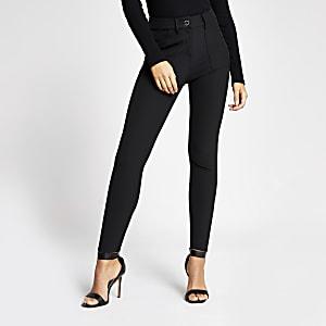 Zwarte skinny-fit utility broek met hoge tailler