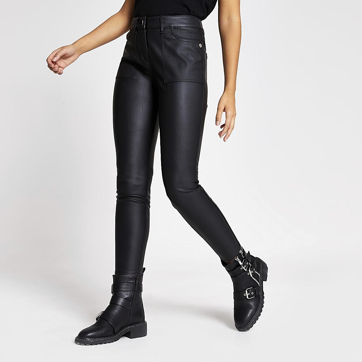Zwarte imitatieleren skinny-fit utility broek