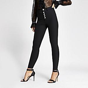 Schwarze Skinny Hose mit hohem Bund und Knopf