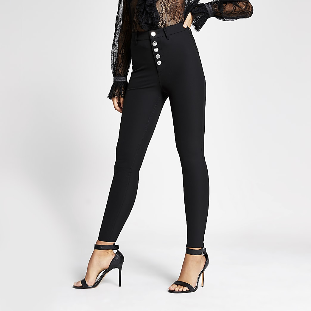 Black skinny high waisted button trousers