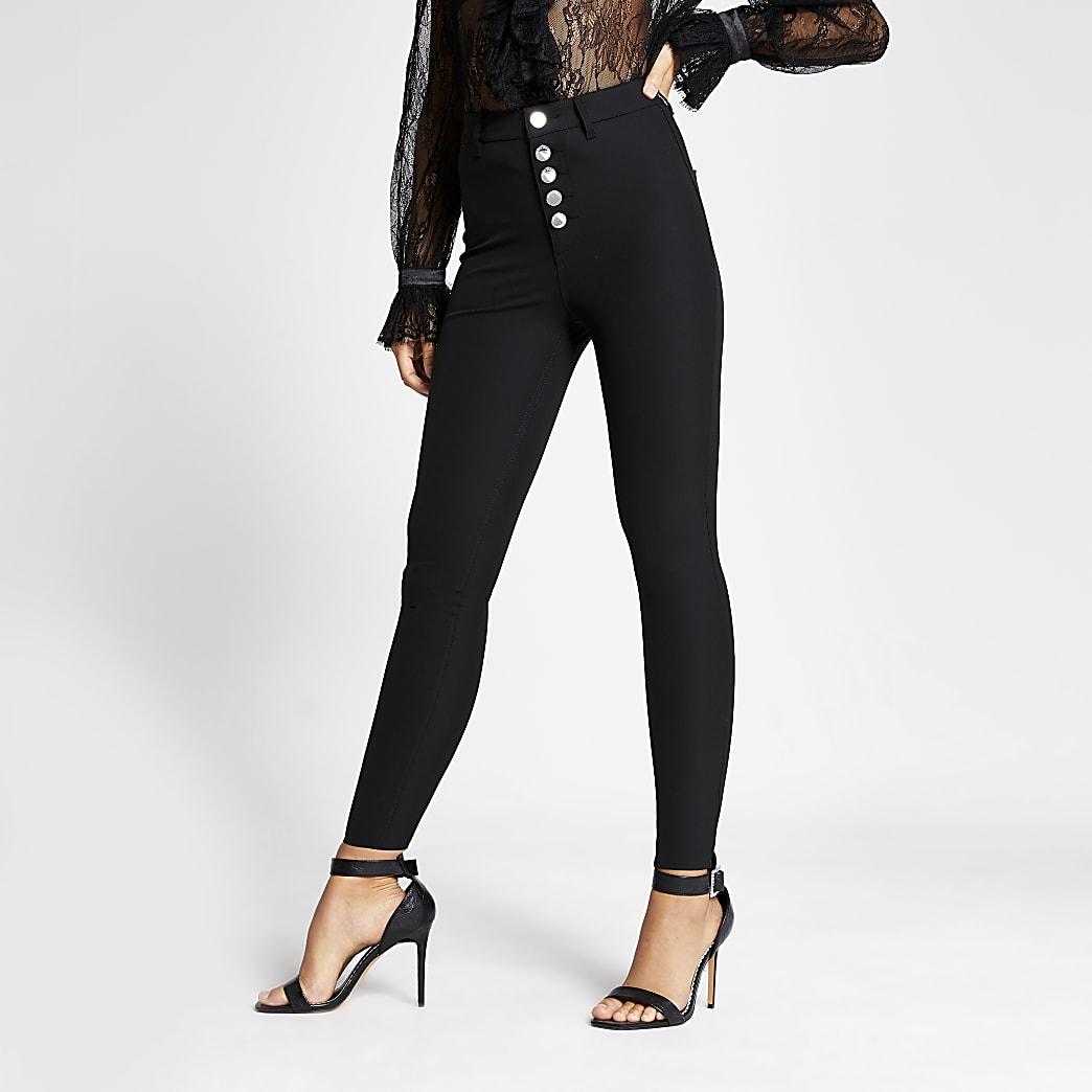 Zwarte skinny broek met hoge taille en knopen