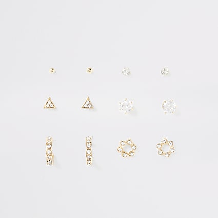 Gold colour diamante stud and hoop multipack