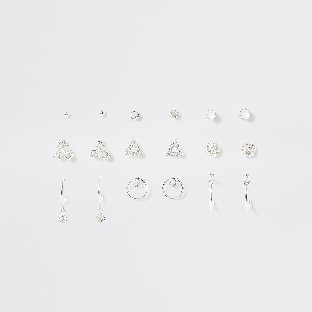 Multipack zilverkleurigeoorknopjes en oorringen