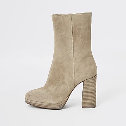 Light beige suede platform heel boots