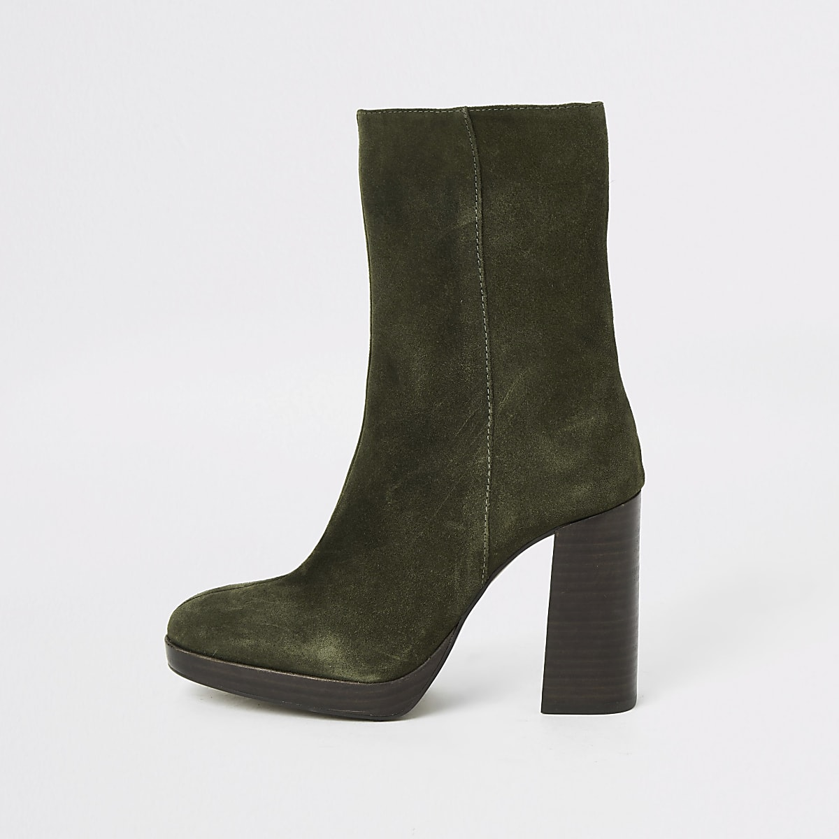 Kaki suède laarzen met plateauzool