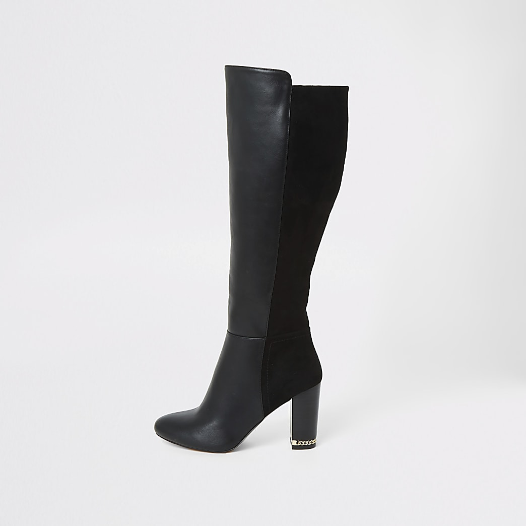 Black knee high wide fit heeled boots