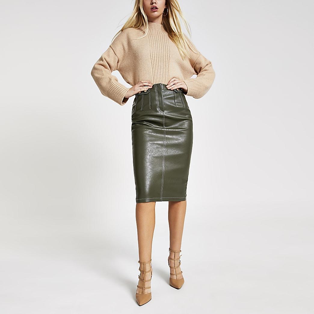 Khaki contrast stitch pencil skirt