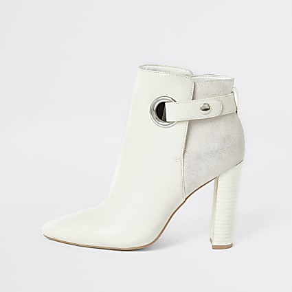 White eyelet pointed wide fit boots