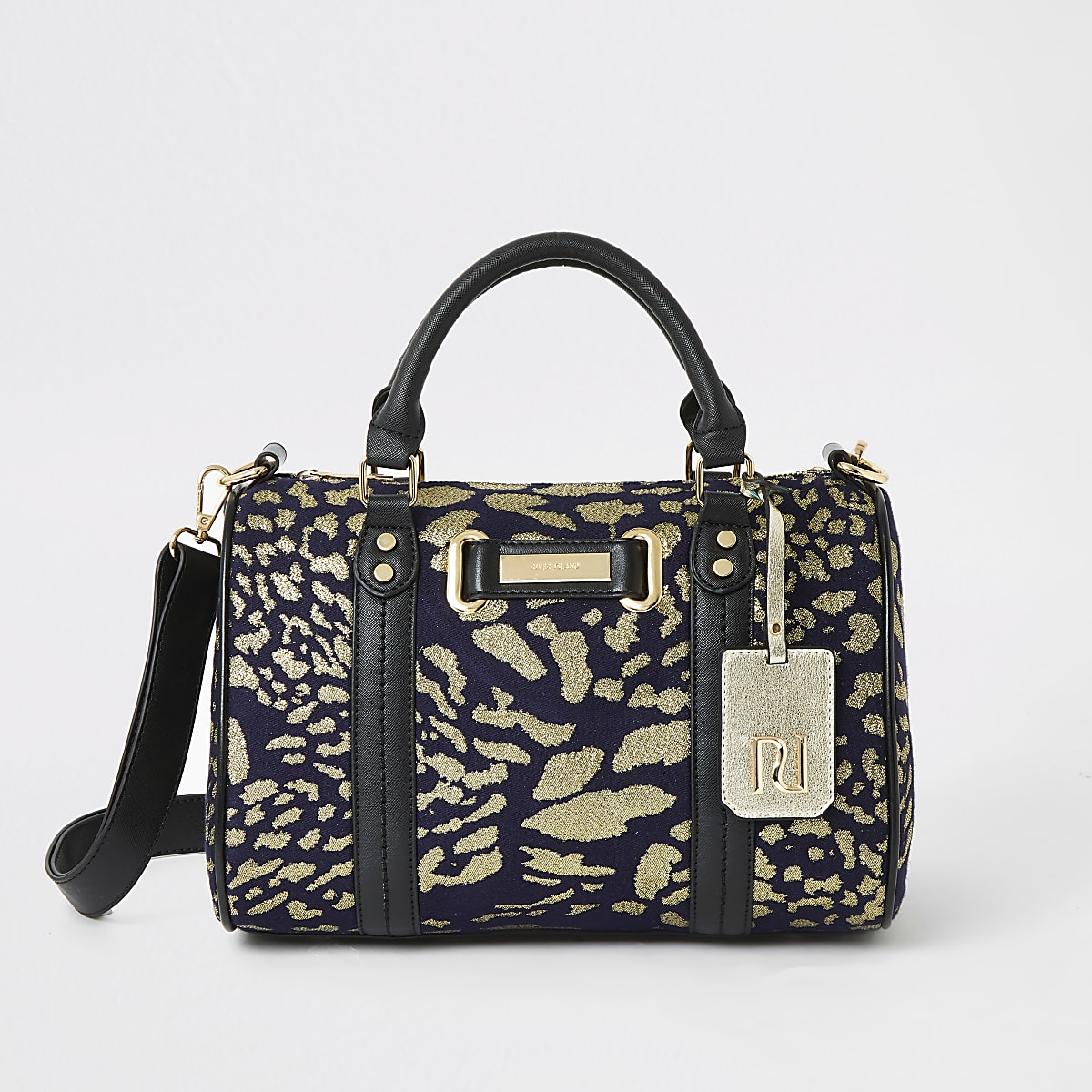 Navy jacquard print bowler cross body bag