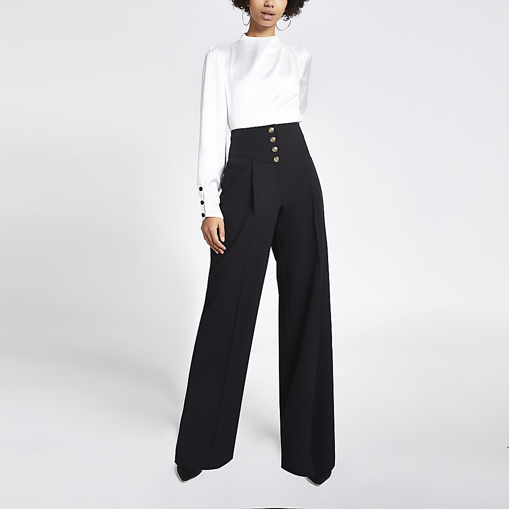 Black corset waist wide leg trousers