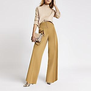 Beigefarbene Hose mit weitem Beinschnitt und Corsagebund