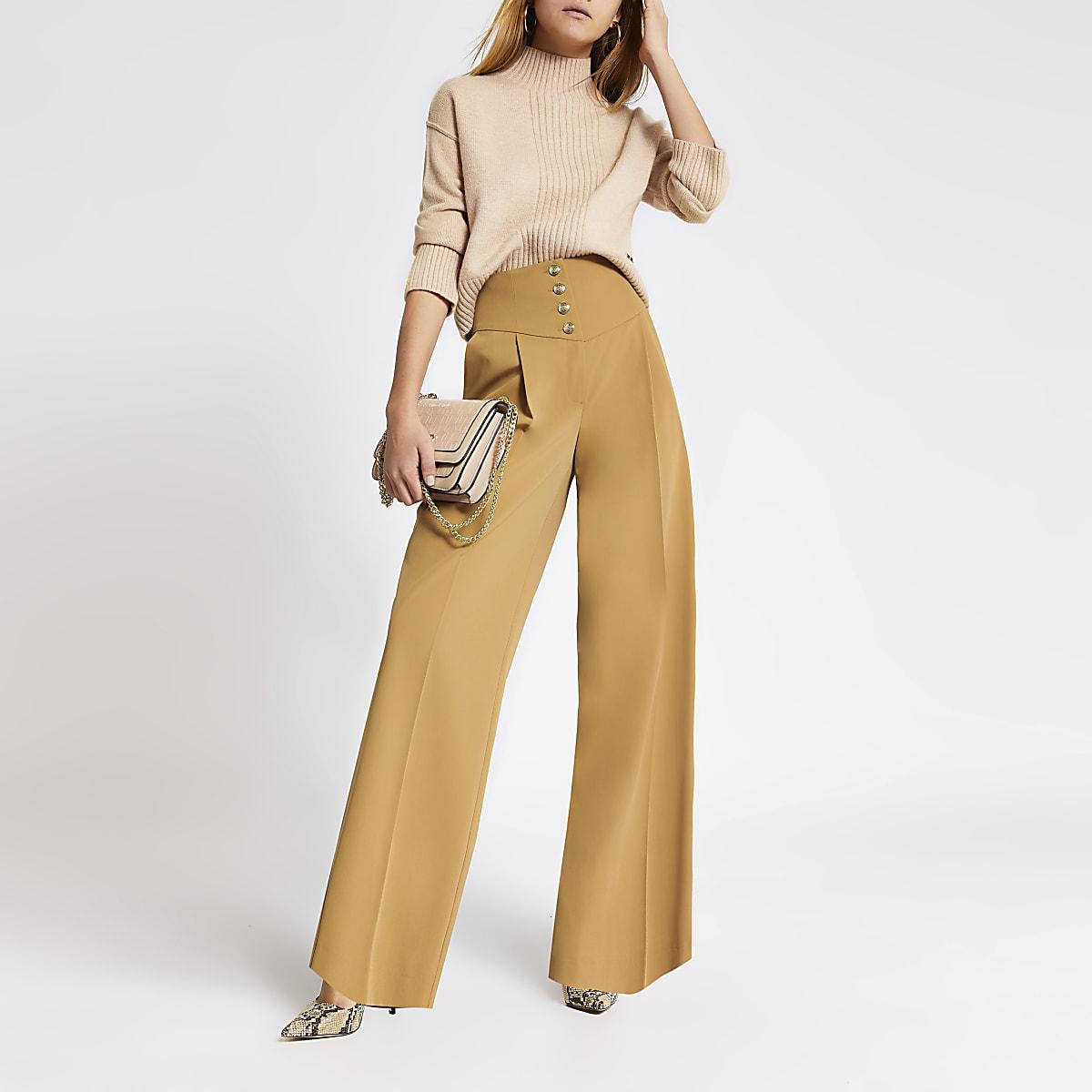 Beige corset waist wide leg trousers