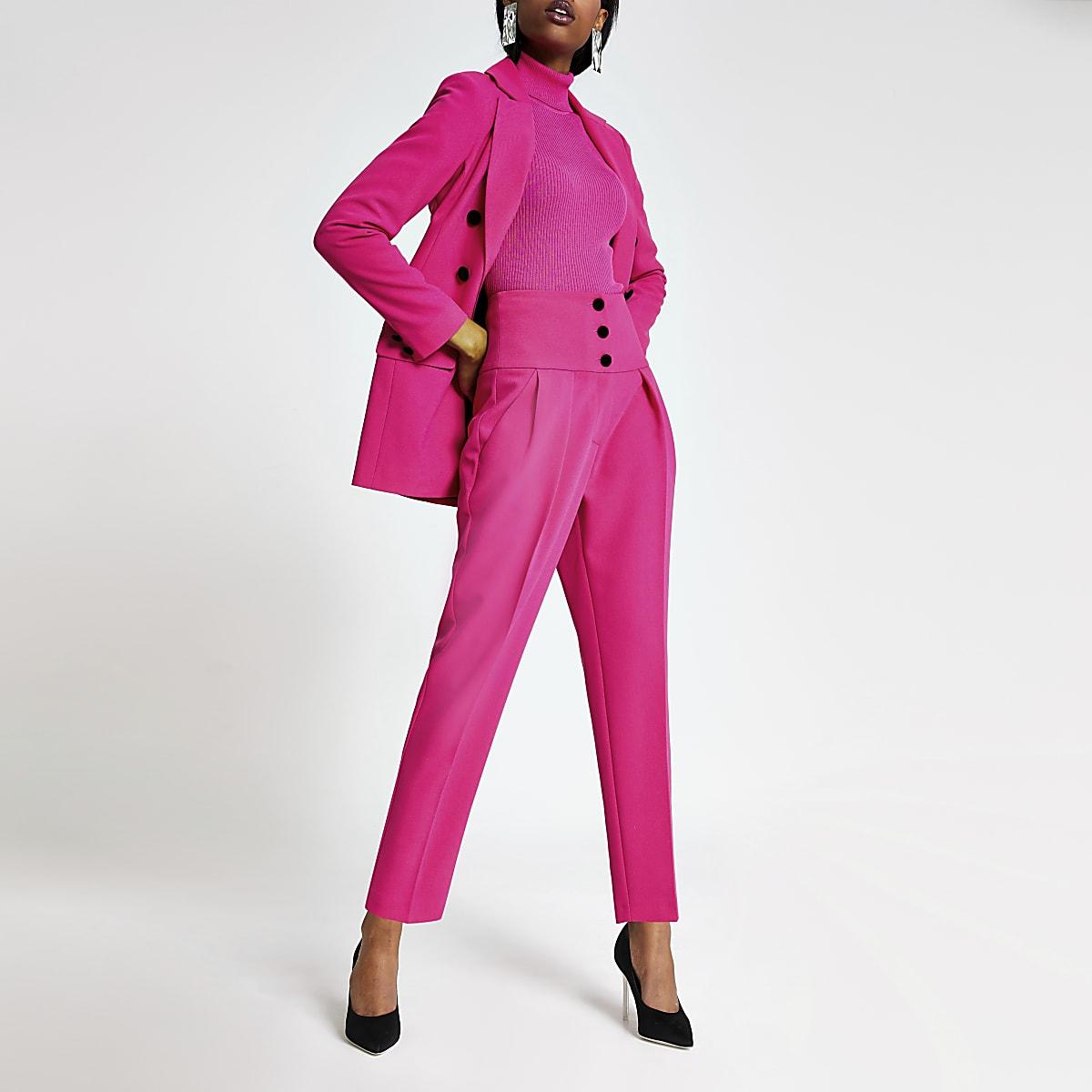 Roze smaltoelopende broek met hoge korste-taille