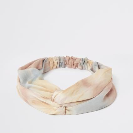 Pink tie dye wide twist headband