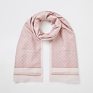 Pinkfarbener Schal in Blockfarben mit RI-Monogramm