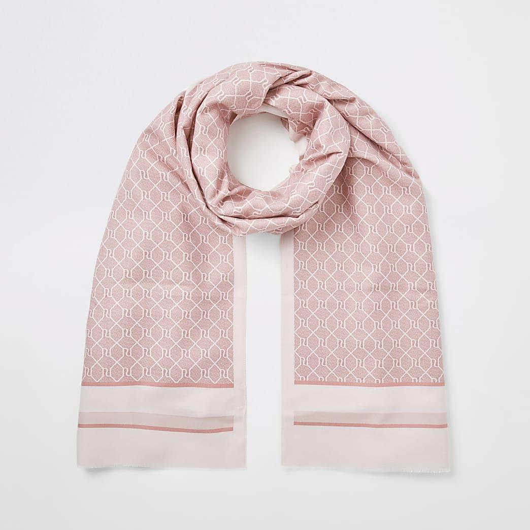 Pink RI monogram blocked scarf